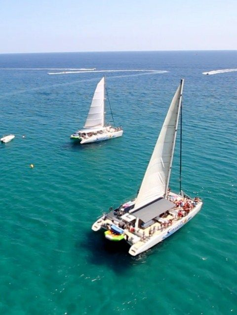 two catamarans aerial image of 80 and 97 places in costa brava